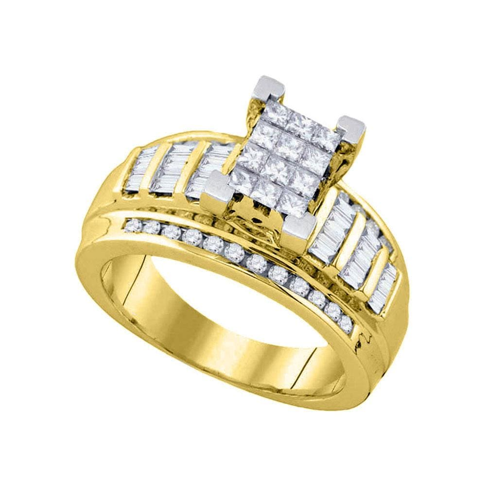 10kt Yellow Gold Princess Diamond Cluster Bridal Wedding Engagement Ring 7/8 Cttw Size