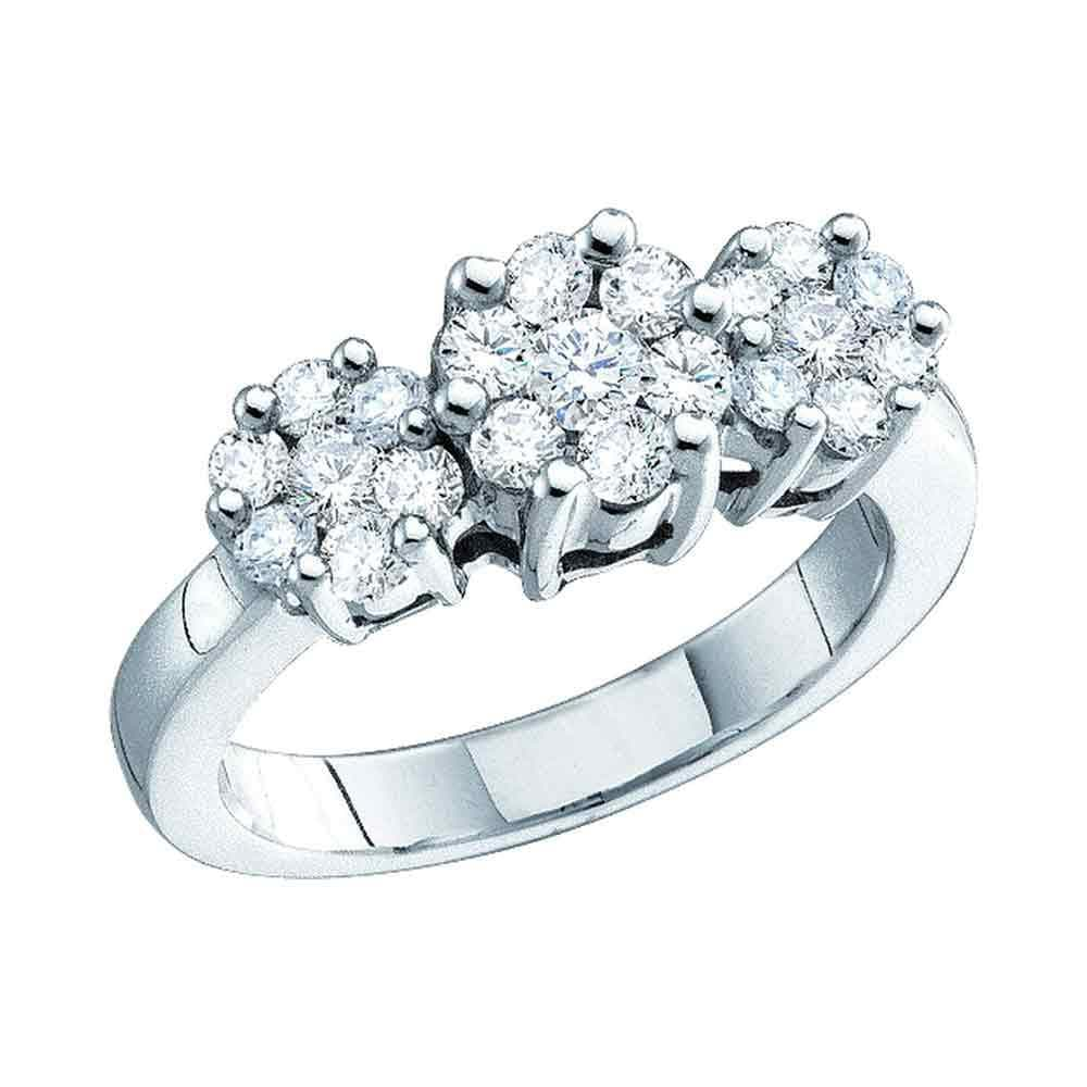 14kt White Gold Womens Round Diamond Triple Flower Cluster Ring 1/3 Cttw