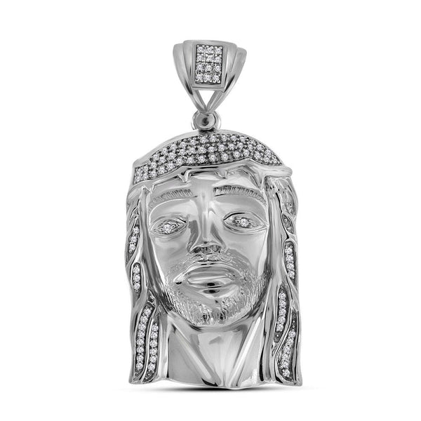 Sterling Silver Mens Round Diamond Jesus Christ Messiah Religious Charm Pendant 3/8 Cttw