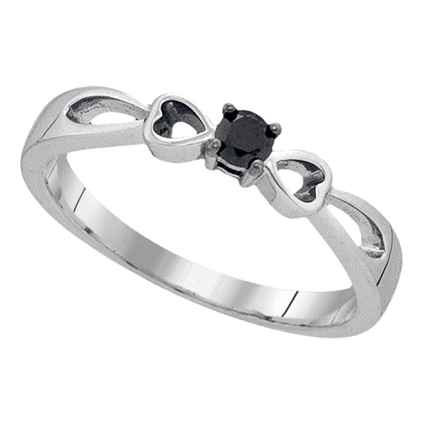 Sterling Silver Womens Round Black Color Enhanced Diamond Solitaire Promise Bridal Ring 1/10 Cttw