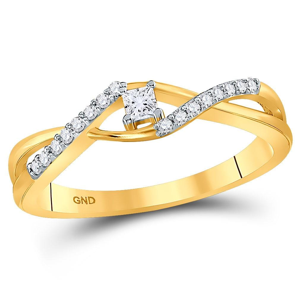 10kt Yellow Gold Womens Princess Diamond Solitaire Promise Bridal Ring 1/6 Cttw