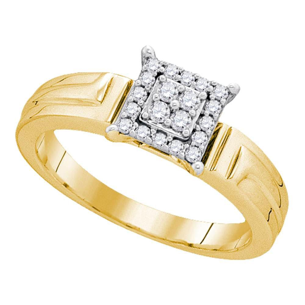 10kt Yellow Gold Womens Round Diamond Square Cluster Ring 1/ Cttw