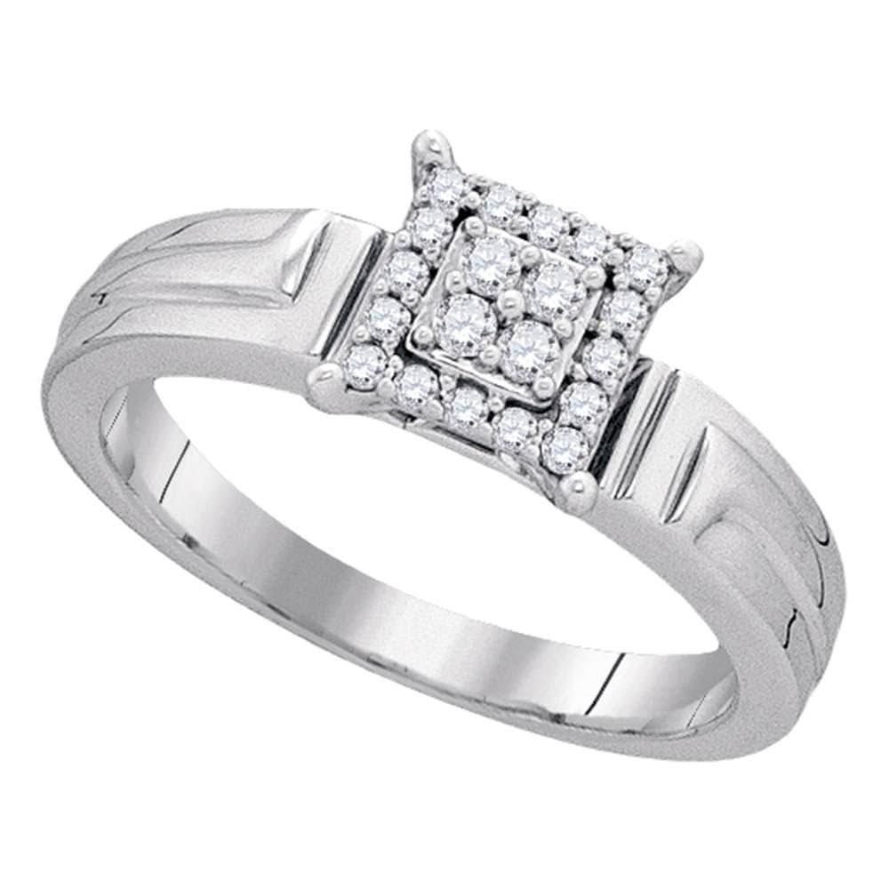 10kt White Gold Womens Round Diamond Square Cluster Ring 1/ Cttw