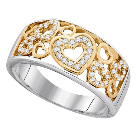 10kt Two-tone Gold Womens Round Diamond Heart Love Band Ring 1/4 Cttw