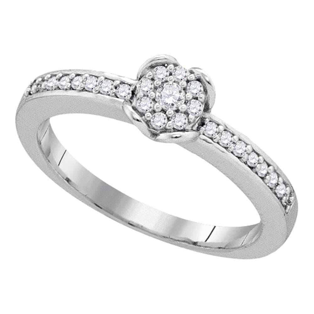 10kt White Gold Womens Round Diamond Cluster Ring 1/5 Cttw