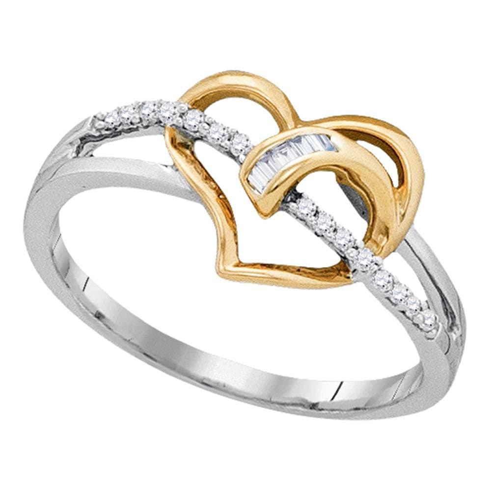10kt White Two-tone Gold Womens Round Diamond Yellow Heart Ring 1/10 Cttw
