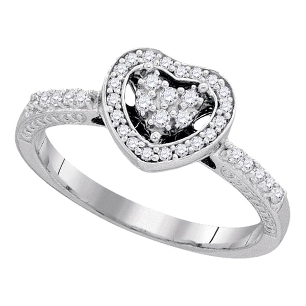 10kt White Gold Womens Round Diamond Simple Heart Halo Ring 1/4 Cttw