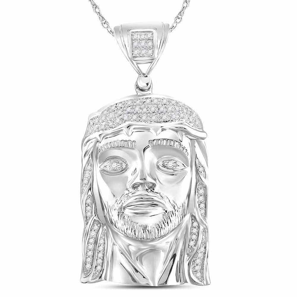 Sterling Silver Mens Round Diamond Jesus Face Charm Pendant 1/4 Cttw