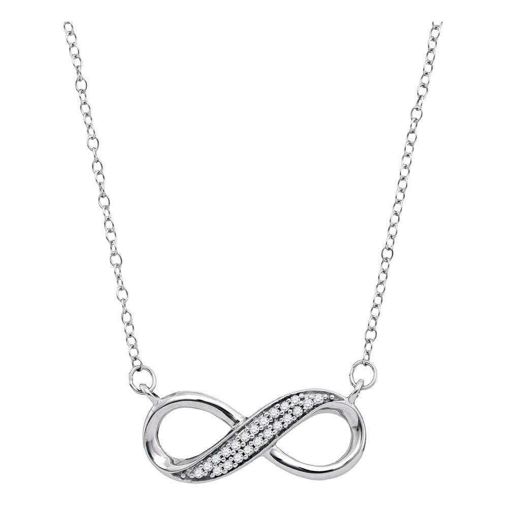 10kt White Gold Womens Round Diamond Infinity Pendant Necklace 1/6 Cttw