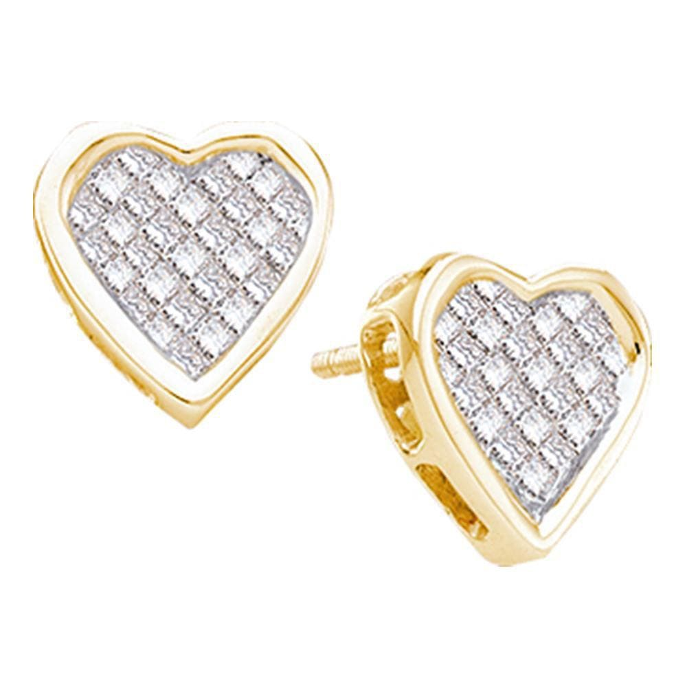 14kt Yellow Gold Womens Princess Diamond Cluster Heart Screwback Stud Earrings 1/2 Cttw