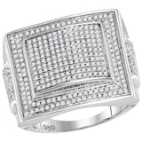 10kt White Gold Mens Round Diamond Square Cluster Ring 1 Cttw