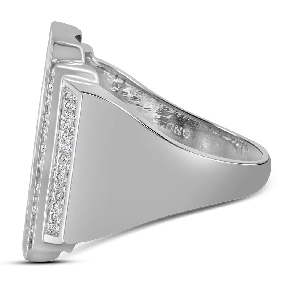 10kt White Gold Mens Round Diamond Rectangle Cluster Ring 1 Cttw