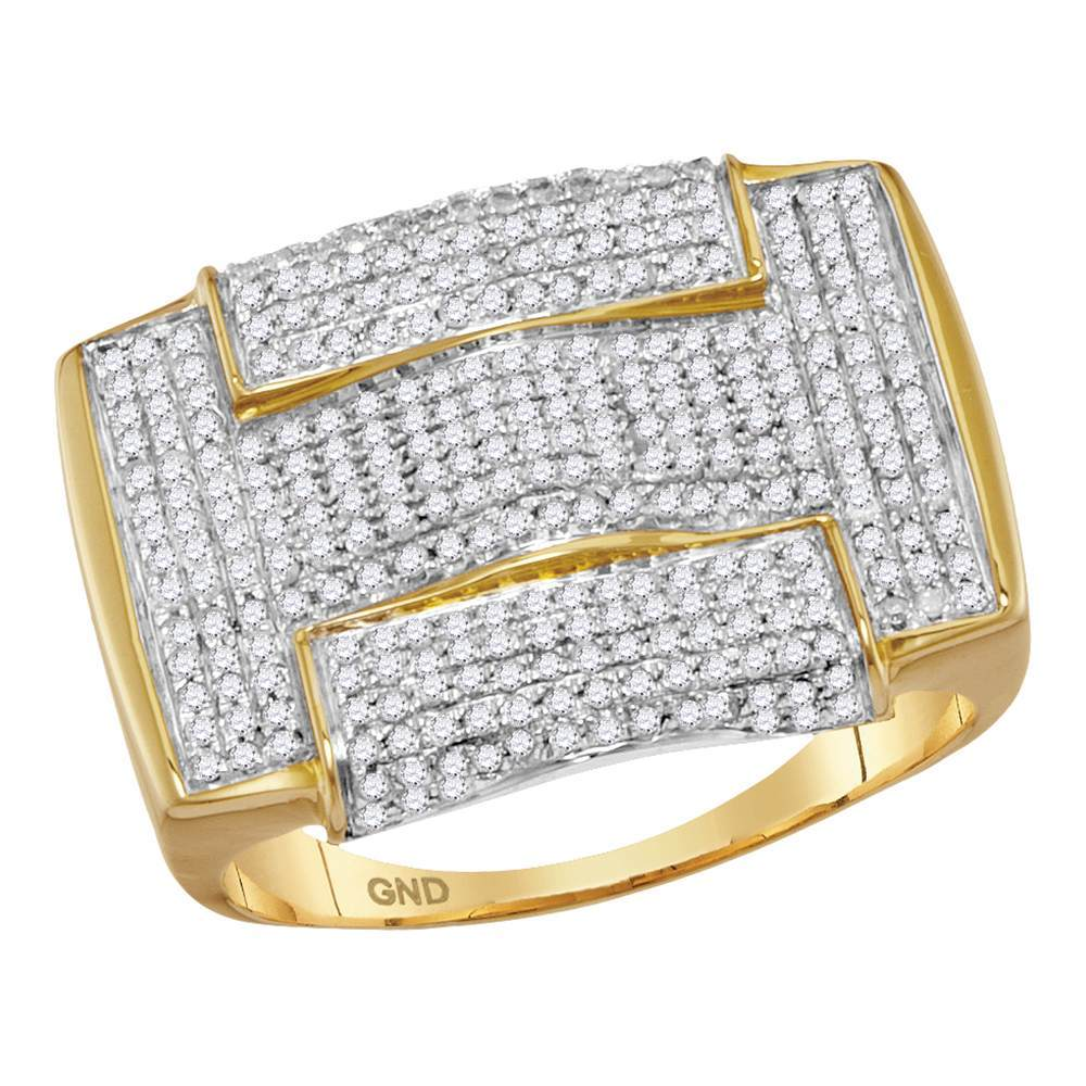 10kt Yellow Gold Mens Round Pave-set Diamond Rectangle Arched Cluster Ring 1.00 Cttw