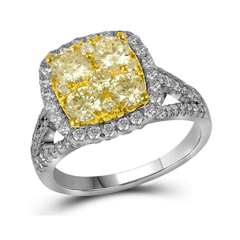 14kt White Gold Womens Round Yellow Diamond Cluster Bridal Wedding Engagement Ring 2-1/5 Cttw