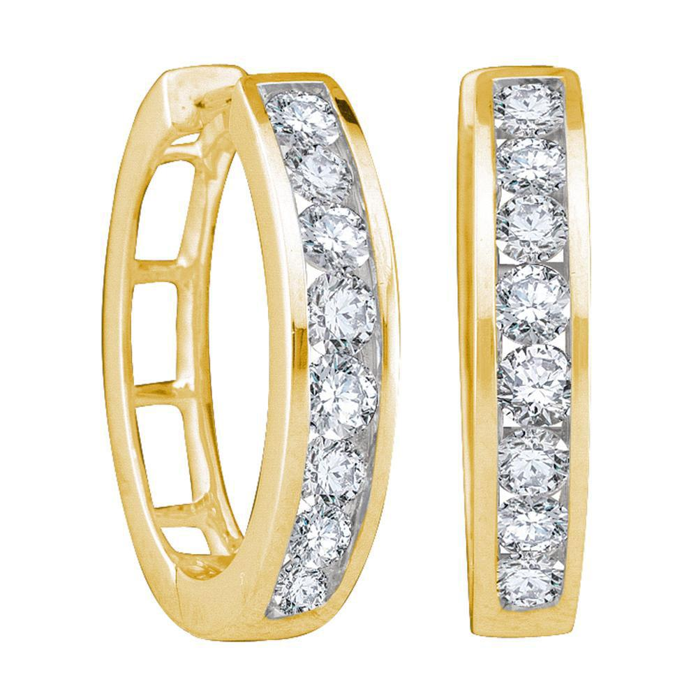10kt Yellow Gold Womens Round Diamond Timeless Hoop Earrings 1 Cttw