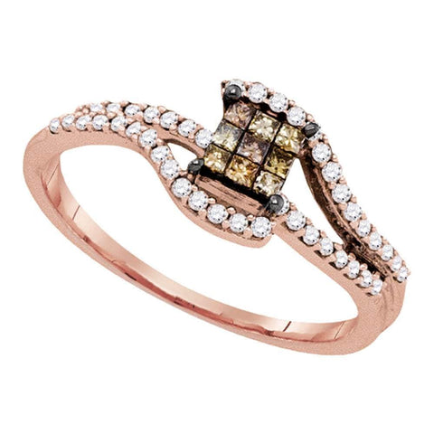10kt Rose Gold Womens Princess Brown Color Enhanced Diamond Fashion Ring 1/3 Cttw