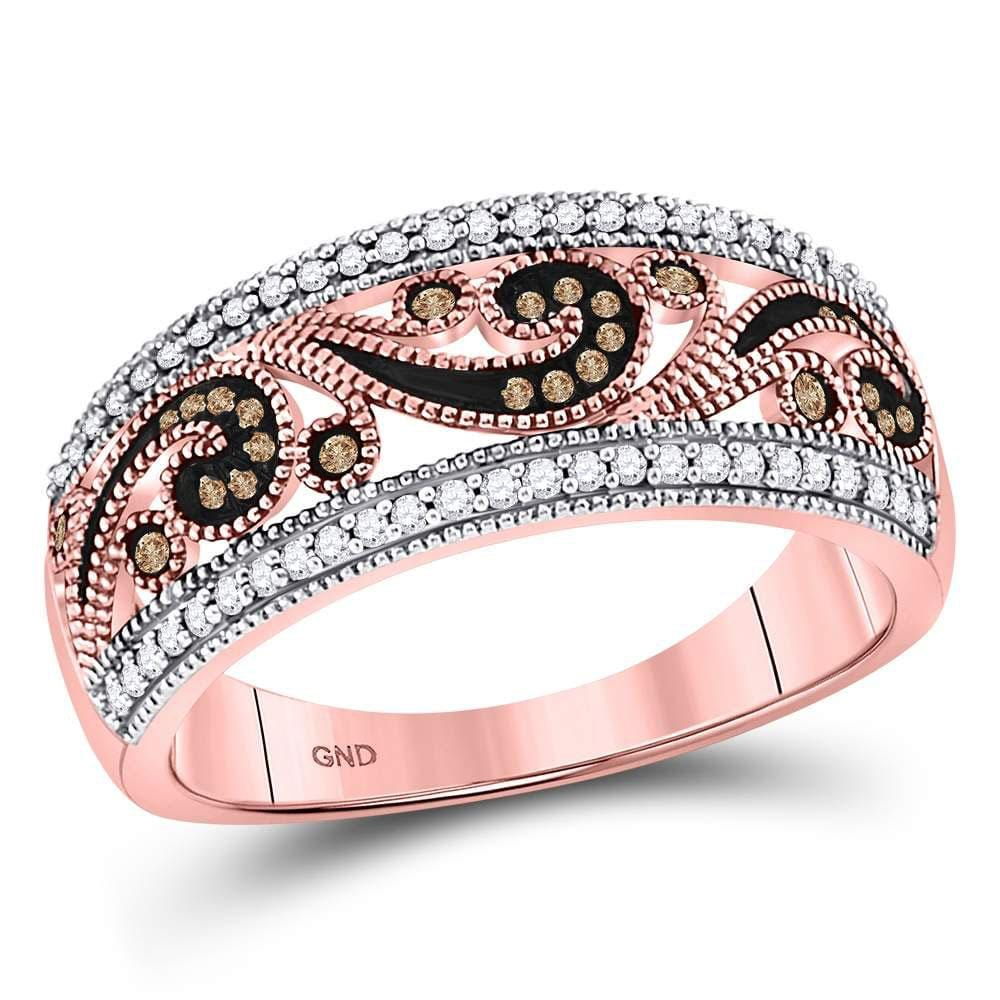 10kt Rose Gold Womens Round Red Color Enhanced Diamond Curl Band Ring 1/4 Cttw
