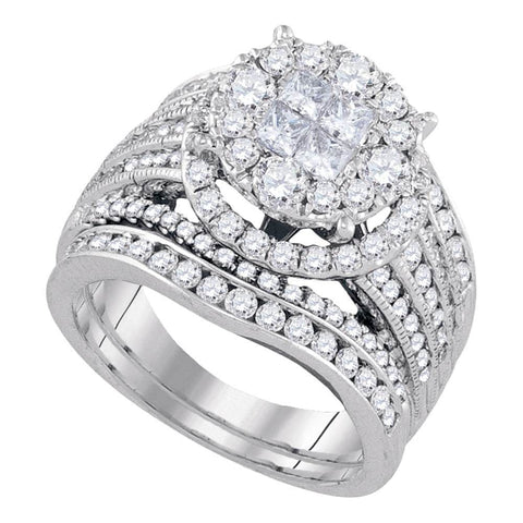 14kt White Gold Womens Princess Diamond Soleil Bridal Wedding Engagement Ring Band Set 2-1/2 Cttw