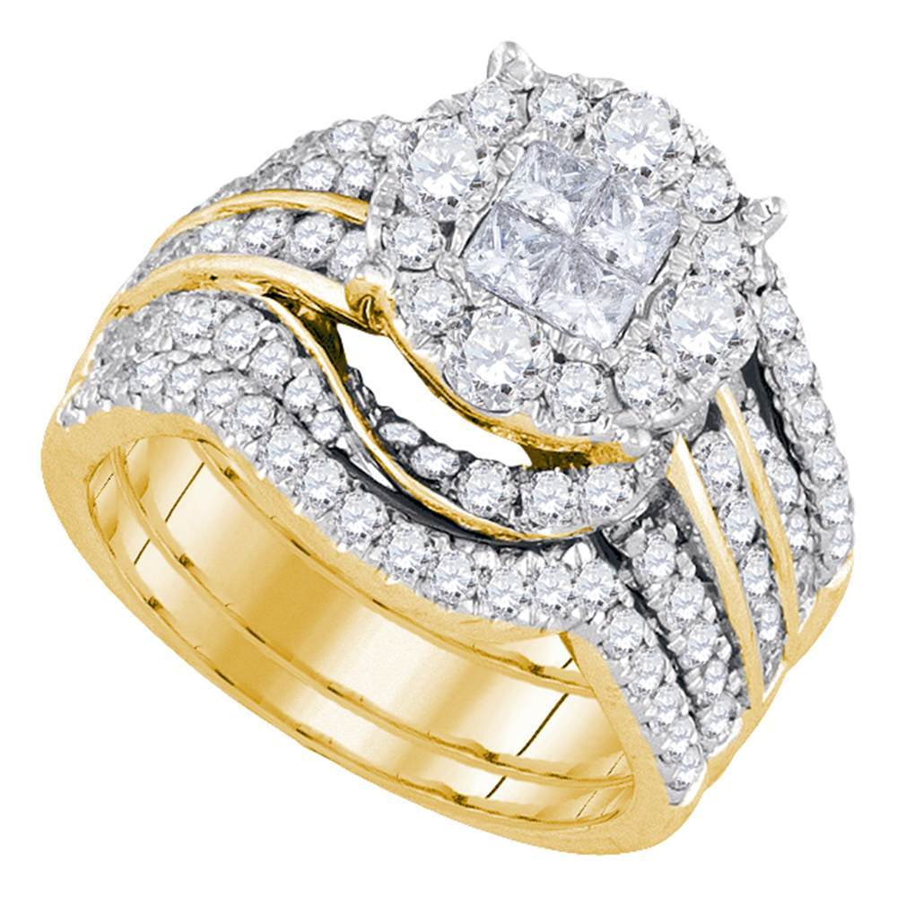 14kt Yellow Gold Womens Princess Round Diamond Soleil Bridal Wedding Engagement Ring Band Set 2-1/2 Cttw