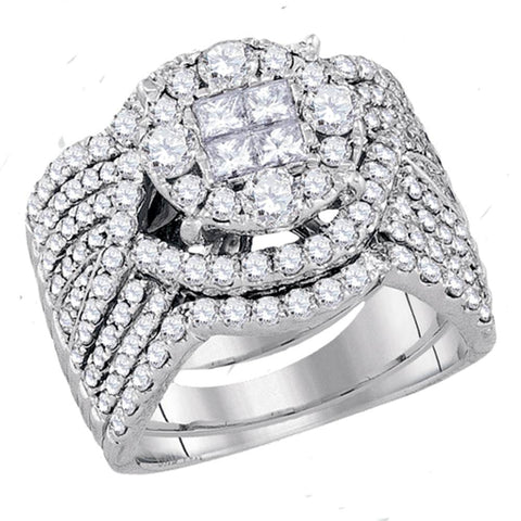 14kt White Gold Womens Princess Round Diamond Soleil Bridal Wedding Engagement Ring Band Set 2-1/2 Cttw