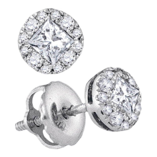 14kt White Gold Womens Princess Diamond Cluster Stud Earrings 1/3 Cttw
