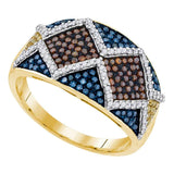 10kt Yellow Gold Womens Round Brown Blue Color Enhanced Diamond Fashion Ring 3/4 Cttw