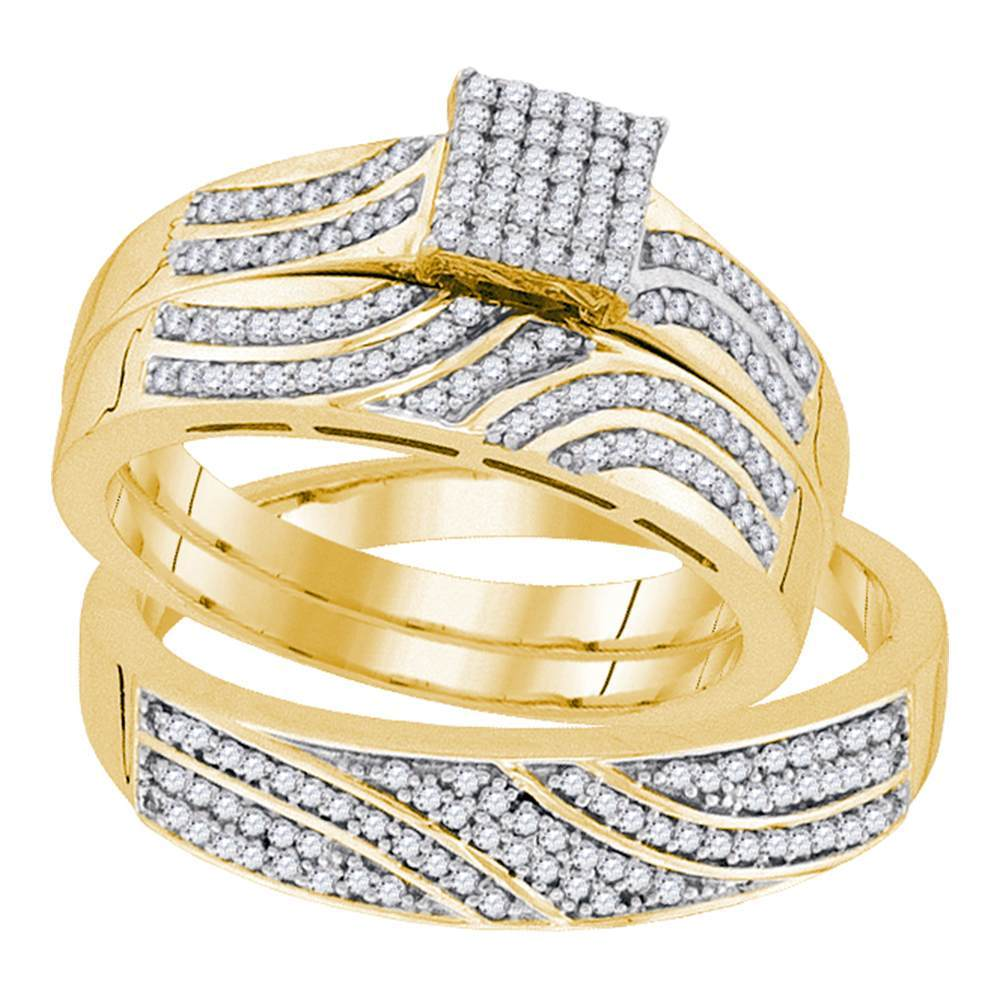 10kt Yellow Gold His & Hers Round Diamond Square Cluster Matching Bridal Wedding Ring Band Set 3/8 Cttw