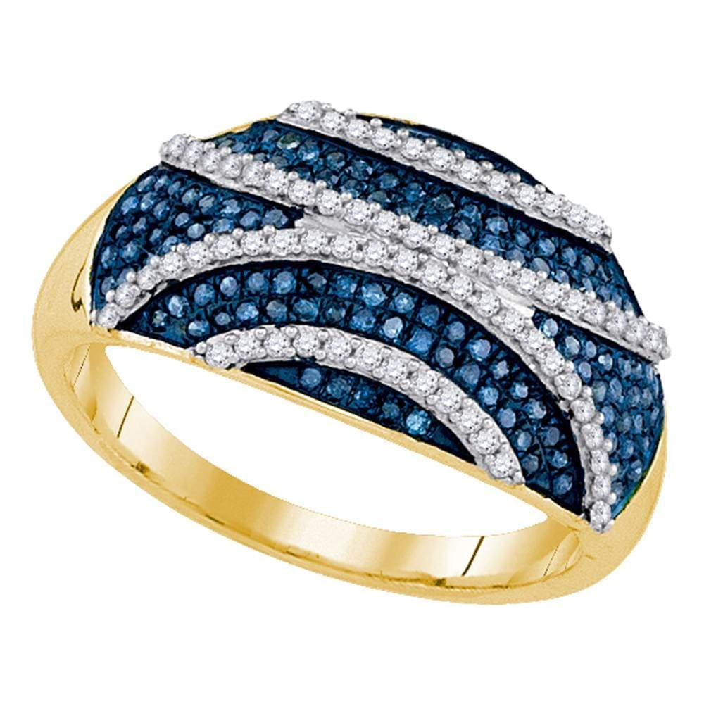 10kt Yellow Gold Womens Round Blue Color Enhanced Diamond Striped Fashion Ring 1/2 Cttw