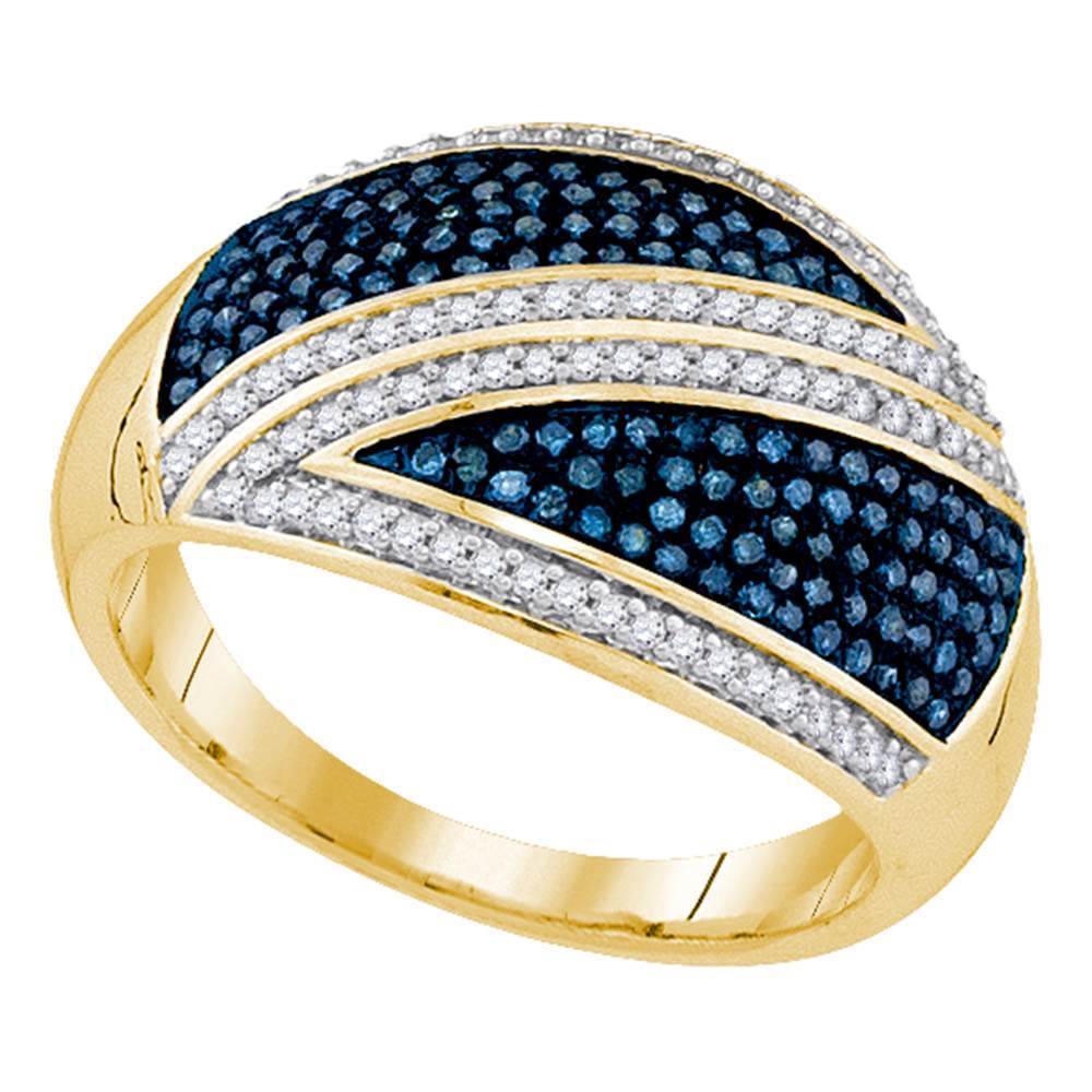 10kt Yellow Gold Womens Round Blue Color Enhanced Diamond Crossover Stripe Band 1/2 Cttw
