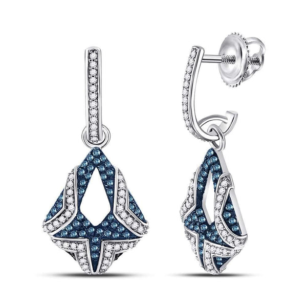10kt White Gold Womens Round Blue Color Enhanced Diamond Dangle Earrings 1/2 Cttw