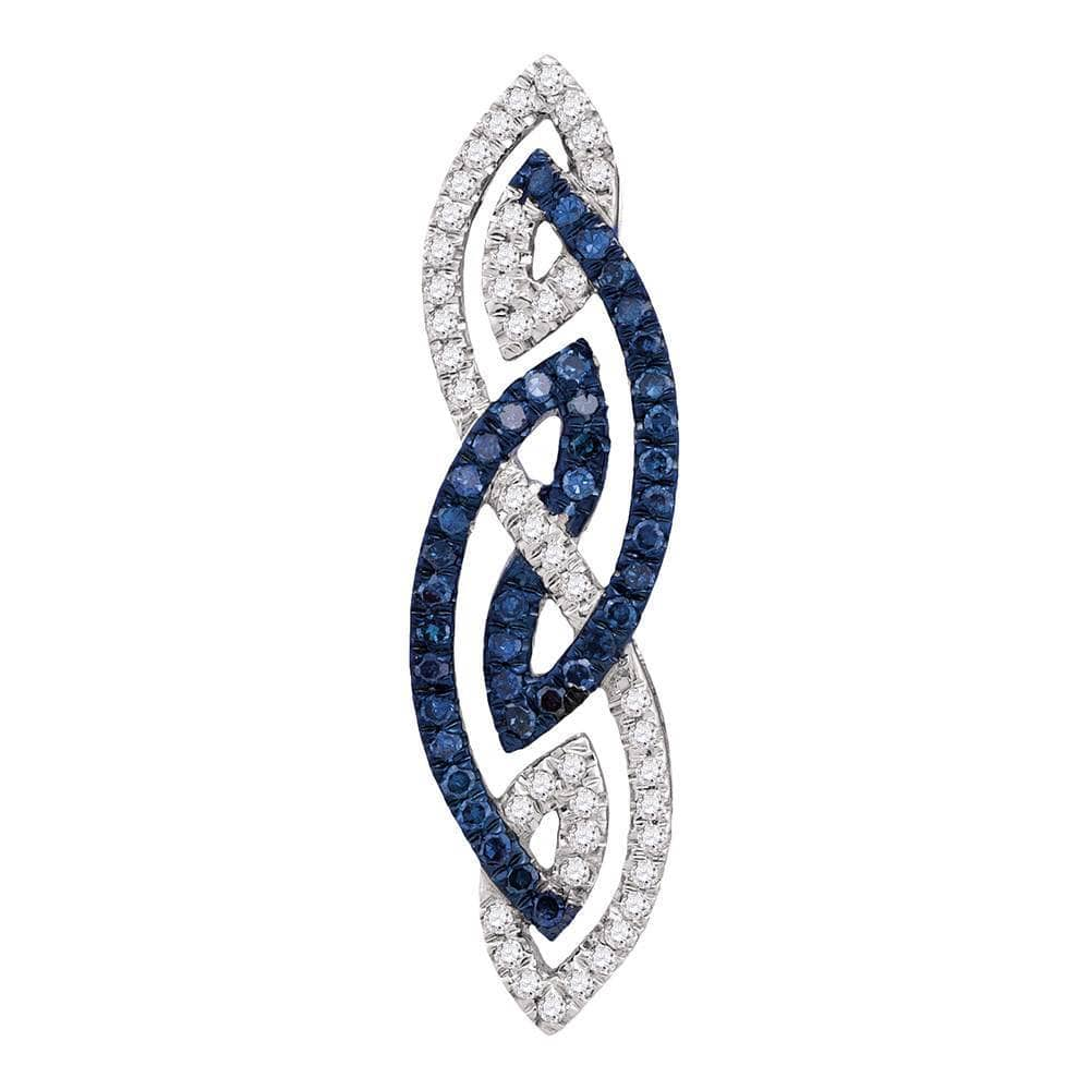 Womens 10K White Gold Enhanced Color Enhanced Blue Diamond Fashion Charm Pendant 1/4CT