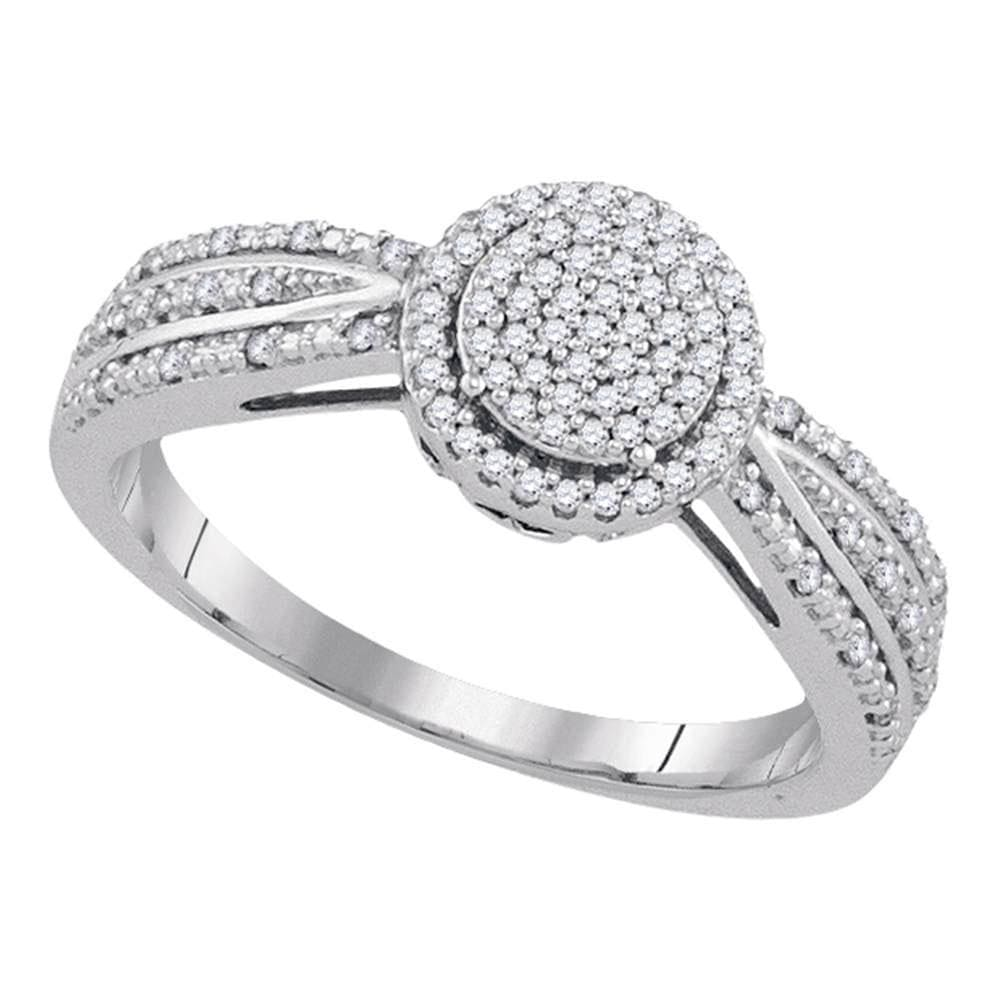10kt White Gold Womens Round Diamond Circle Cluster Ring 1/5 Cttw