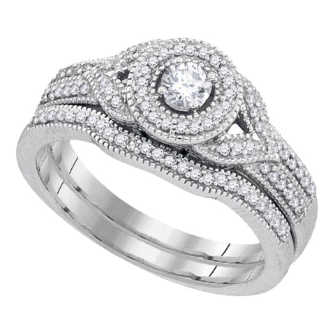 10kt White Gold Womens Diamond Round Bridal Wedding Engagement Ring Band Set 3/8 Cttw