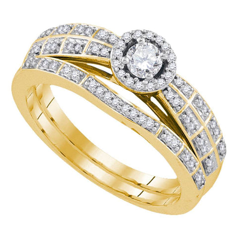 10k Yellow Gold Round Diamond Halo Bridal Wedding Engagement Ring Band Set 1/3 Cttw