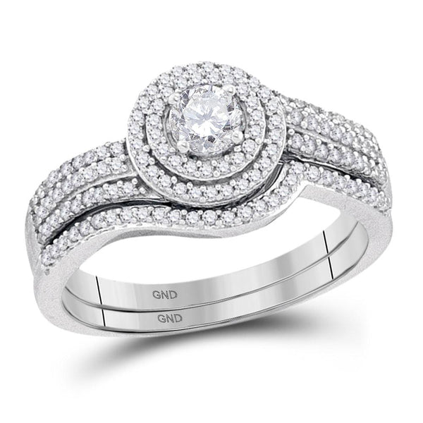 10kt White Gold Womens Round Diamond Bridal Wedding Engagement Ring Band Set 5/8 Cttw