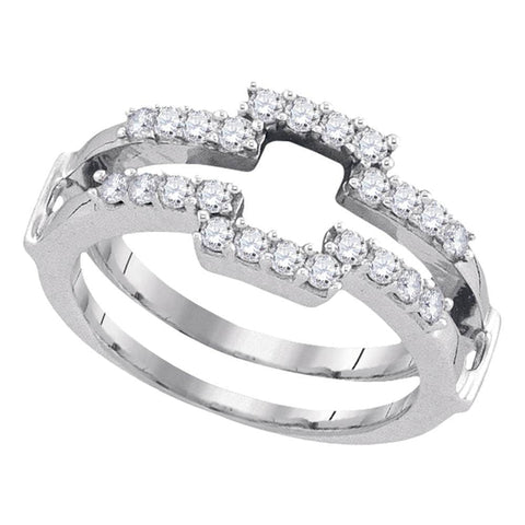 14kt White Gold Womens Round Diamond Square Wrap Ring Guard Enhancer Wedding Band 1/2 Cttw