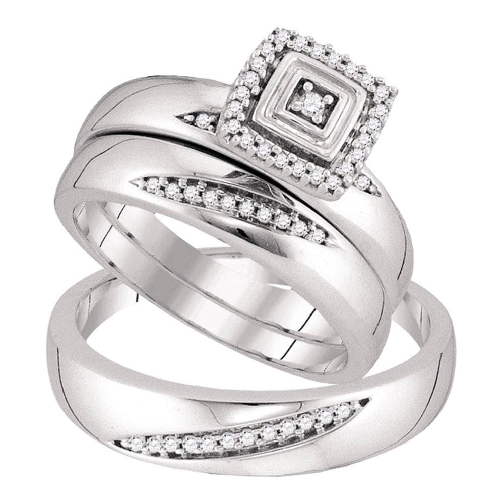 10kt White Gold His Hers Round Diamond Solitaire Matching Wedding Set 1/5 Cttw