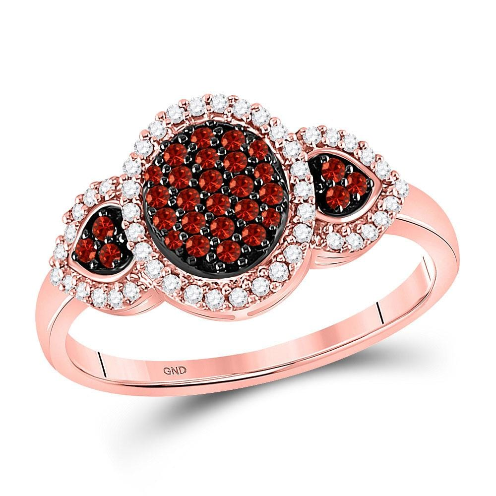10kt Rose Gold Womens Round Red Color Enhanced Diamond Oval Cluster Ring 1/3 Cttw