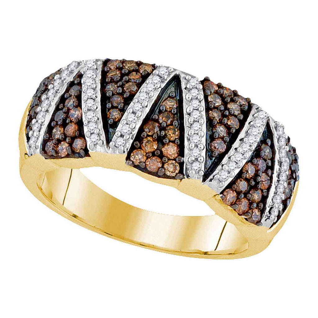 10kt Yellow Gold Womens Round Cognac-brown Color Enhanced Diamond Striped Band 3/4 Cttw