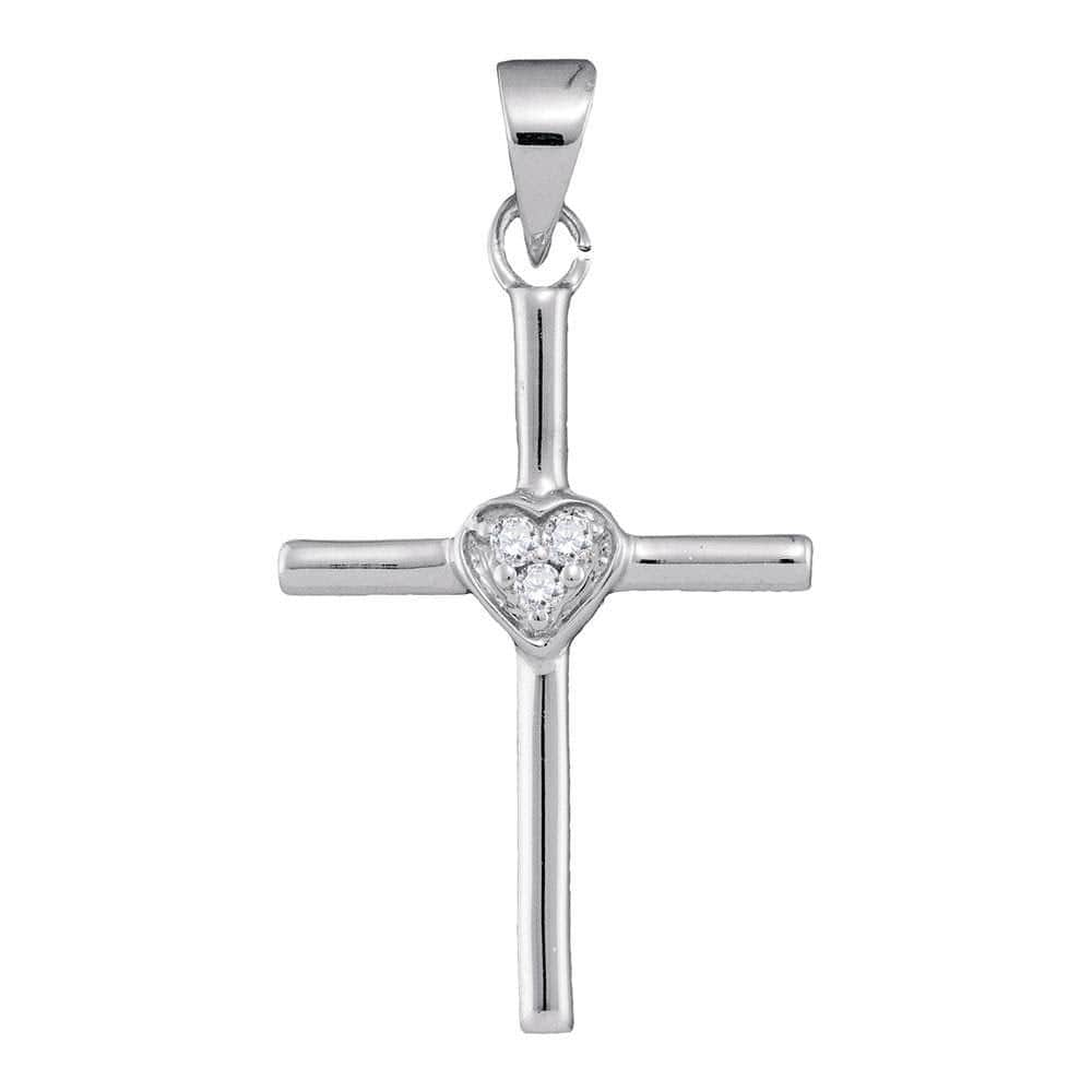 10kt White Gold Womens Round Diamond Small Cross Heart Pendant .03 Cttw