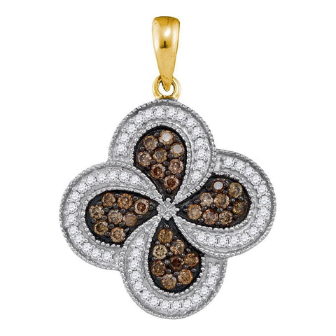 10kt Yellow Gold Womens Round Cognac-brown Color Enhanced Diamond Pinwheel Pendant 3/4 Cttw