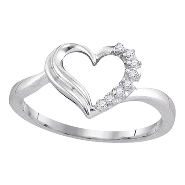 Sterling Silver Womens Round Diamond Heart Love Ring 1/20 Cttw