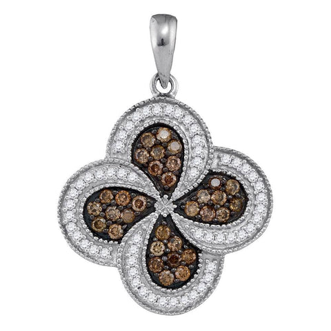 10kt White Gold Womens Round Cognac-brown Color Enhanced Diamond Pinwheel Pendant 3/4 Cttw