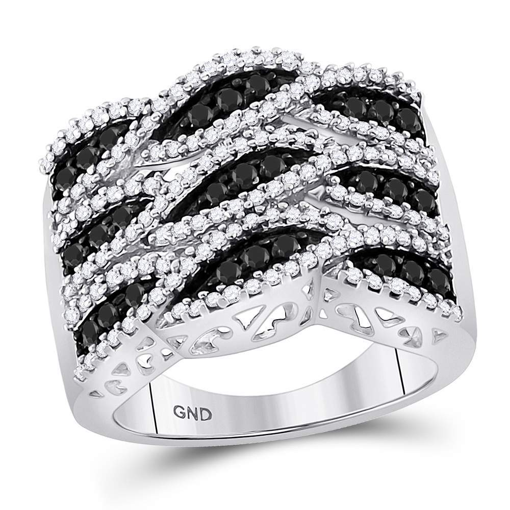10kt White Gold Womens Round Black Color Enhanced Diamond Segmented Fashion Ring 1-1/10 Cttw