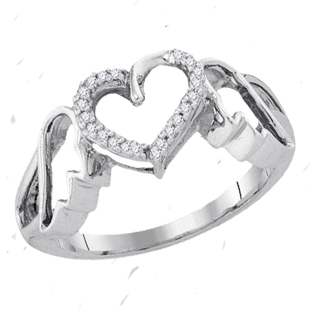 Sterling Silver Womens Round Diamond Winged Heart Ring 1/20 Cttw