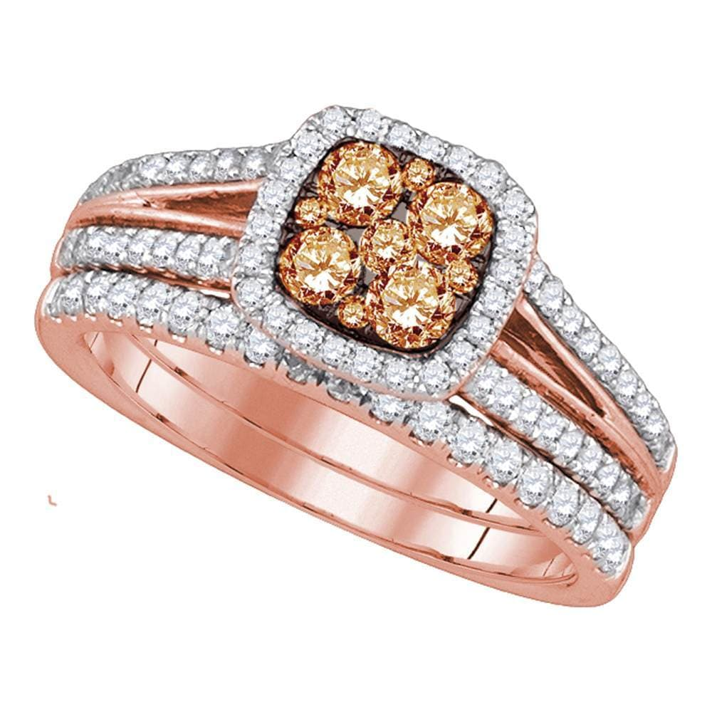 14kt Rose Gold Womens Round Brown Diamond Bridal Wedding Engagement Ring Band Set 1.00 Cttw