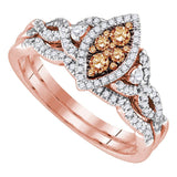 14kt Rose Gold Womens Round Chocolate Brown Diamond Cluster Twist Bridal Wedding Engagement Ring Band Set 1/2 Cttw