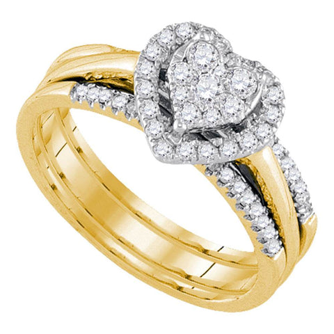14kt Yellow Gold Womens Diamond Heart Bridal Wedding Engagement Ring Band Set 1/2 Cttw