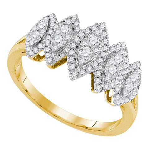 14kt Yellow Gold Womens Round Diamond Oval Cluster Fashion Ring 1/2 Cttw