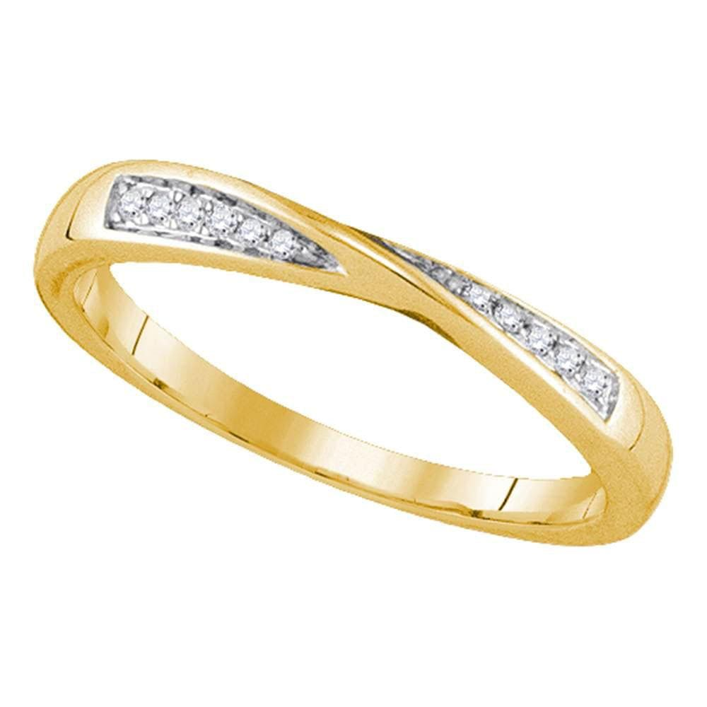 14kt Yellow Gold Womens Round Diamond Fashion Band Ring 1/20 Cttw